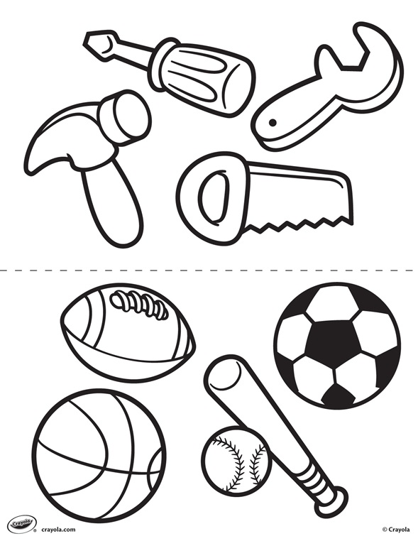 First pages tools and sports for Tools coloring page